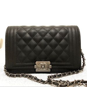 Chanel mini le boy 8 x 5 x 1.5 black